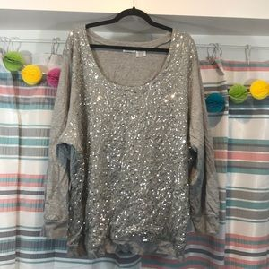 Roaman's Silver Sequin 3X Sweater